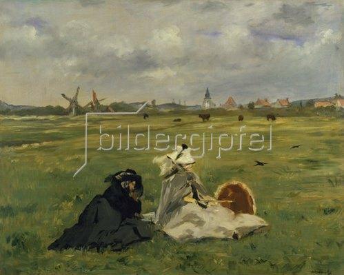 Edouard Manet: Frau und Mutter des Künstlers auf einer Wiese (oder: Die Schwalben). 1873