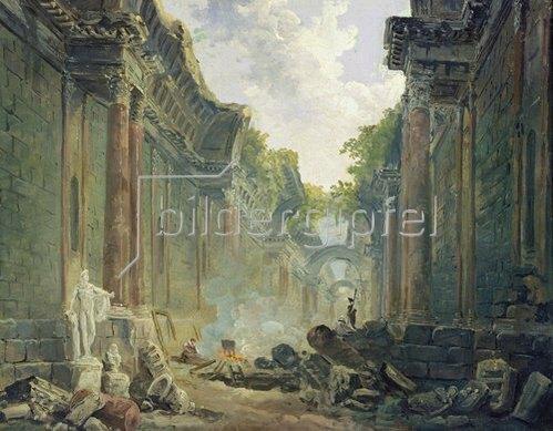 Hubert Robert: Phantastische Ansicht der grossen Galerie des Louvre als Ruine (II).