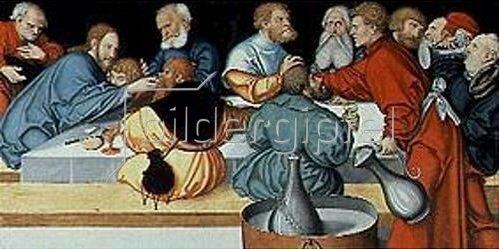 Lucas Cranach d.Ä.: Flügelaltar in St.Wolfgang in Schneeberg (Erzgebirge): Predella (Abendmahl)