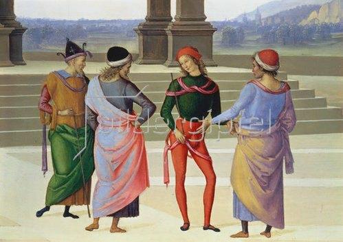 Perugino (Pietro Vanucci): Detail aus: Die mystische Vermählung der heiligen Jungfrau: Vier Männer. Um 1500