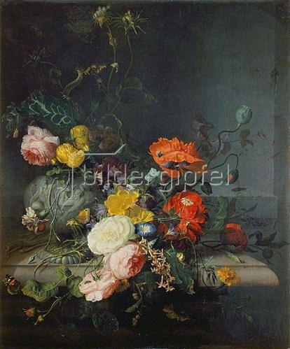 Jacob van Walscapelle: Stilleben mit Blumen und Insekten.