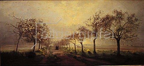 Antoine Chintreuil: Blühende Obstbäume im Morgennebel.