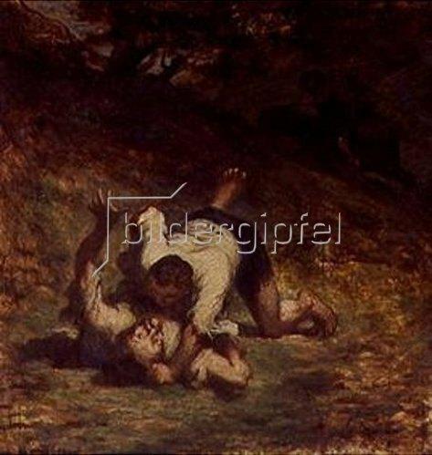 Honoré Daumier: Les voleurs et l'âne(nach La Fontaine) 1858.