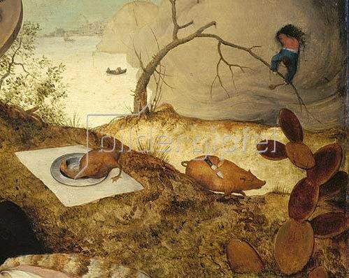 Pieter Brueghel d.Ä.: Das Schlaraffenland. Detail: Laufendes Schwein mit Messer im Rücken. 1566