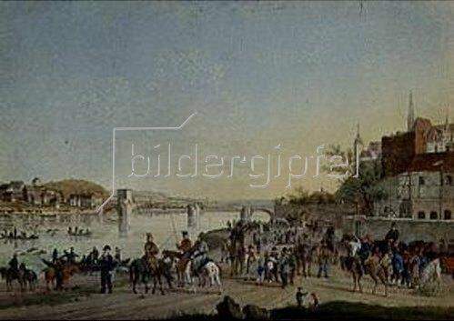 Christian Gottfried Geissler: Übergang der Kosaken über die Elbe, März 1813.