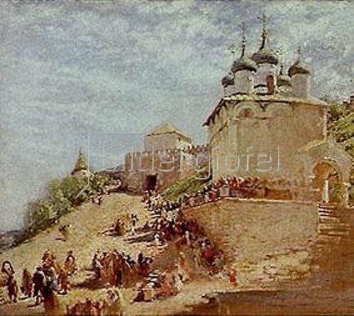 Konstantin Jegor Makovskij: Auf einem Platz von Ivanovskij bei Nishni Nowgorod.