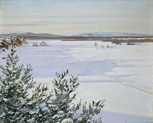 August Hagborg: Sonnige Winterlandschaft (Schweden).