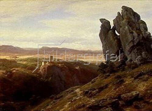 Carl Friedrich Lessing: Mittelgebirgslandschaft mit Burgruine. 1874.