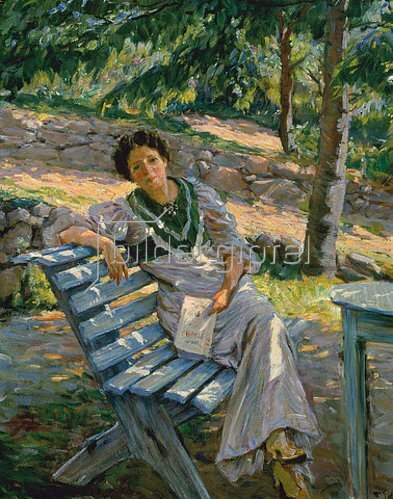 Thorvald Togersen: Mußestunde im Garten. 1910