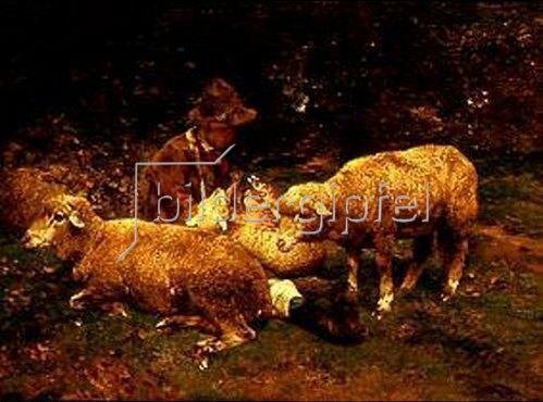 Heinrich von Zügel: Schafe mit Hirt. 1882.