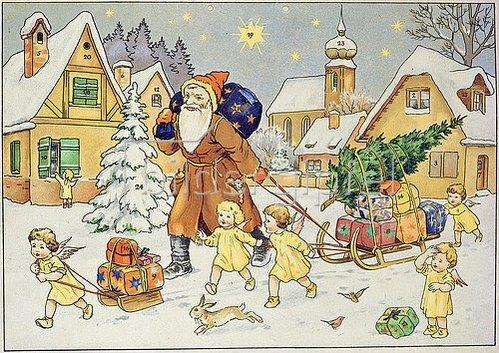 Alte Weihnachtskalender.Darstellung Aus Einem Alten Adventskalender Um 1920 Der Hl Nikolaus Von Anonym