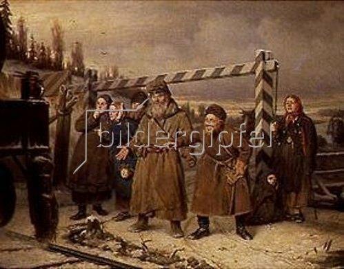 Wassili Perow: An einer Eisenbahnstation in Russland. 1868.