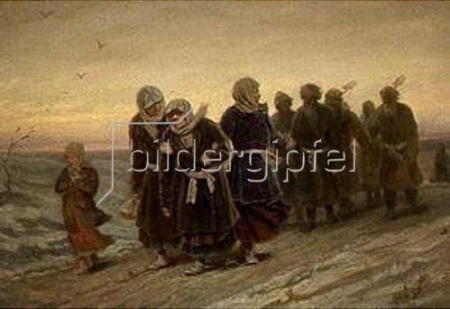 Wassili Perow: Russische Bauern auf dem Heimweg von einer Beerdigung. 1880.