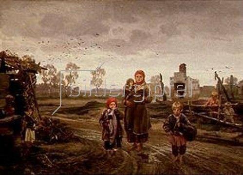 Ilarion M Prjaschnikow: Nach dem Dorfbrand. 1871.