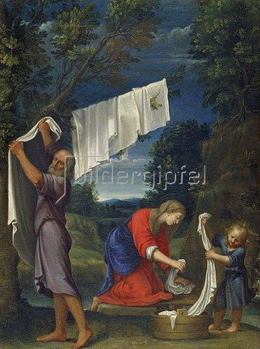 Lucio Massari: Die Heilige Familie beim Wäsche Waschen.