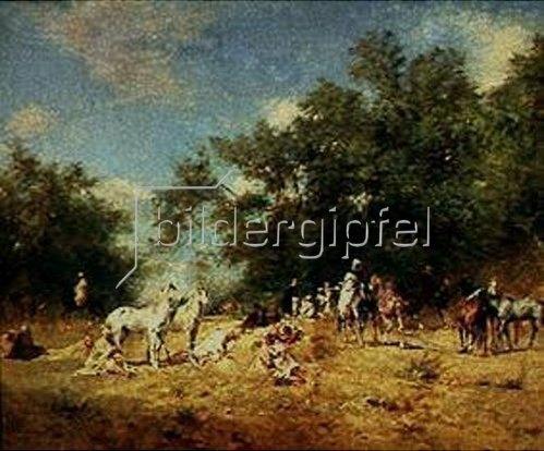 Eugène Fromentin: Halt eines arabischen Reitertrupps in einem Wald. 1868.