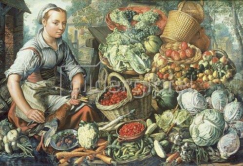 Joachim Beuckelaer: Obst- und Gemüsestilleben mit Marktfrau.