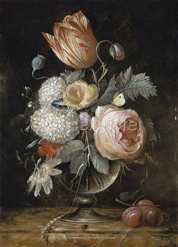 Hendrik de Fromantiou: Blumenstrauss in Glasvase mit Insekten und Pflaumen. Nach 1670.