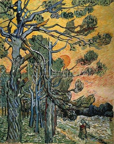 Vincent van Gogh: Kiefern mit untergehender Sonne und weiblicher Figur. 1889