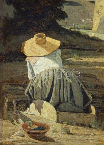 Paul Camille Guigou: Die Wäscherin am Bach. 1860