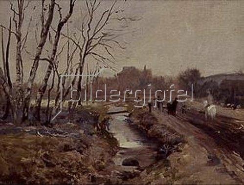 Paul Wilhelm Tübbecke: Winterliche Landschaft mit Figuren.