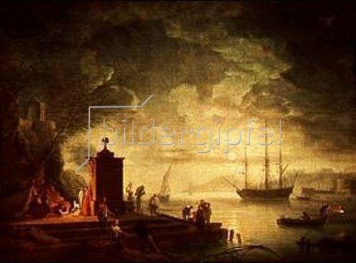Claude Joseph Vernet: Mondnacht am Hafen