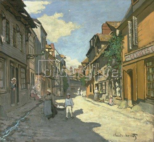 Claude Monet: Dorfstrasse in der Normandie (Rue de la Bavolle, Honfleur). Um 1867.