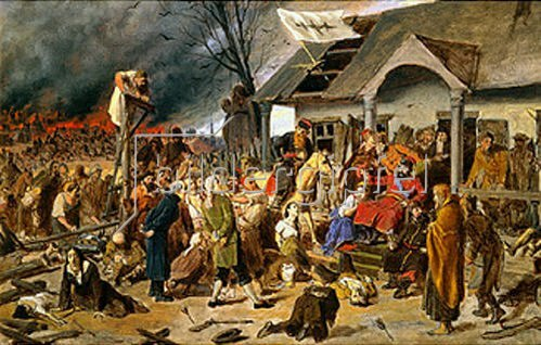 Wassili Perow: Die Verurteilung des J. Iwanowitsch Pugatschow (1775). 1870.