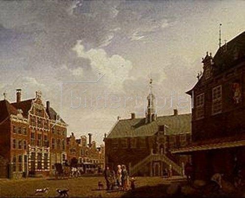 Isaak Ouwater: Der Marktplatz von Hoorn. 1784. Lwd., 35 x 44 cm