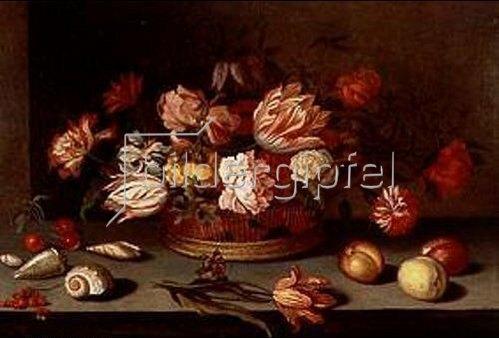 Balthasar van der Ast: Stilleben mit Blumen, Früchten, Muscheln und Schmetterling.