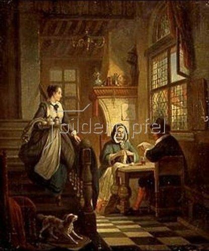 William Louis Angus: Ehepaar am Tisch und Magd mit Tablett. 1853.