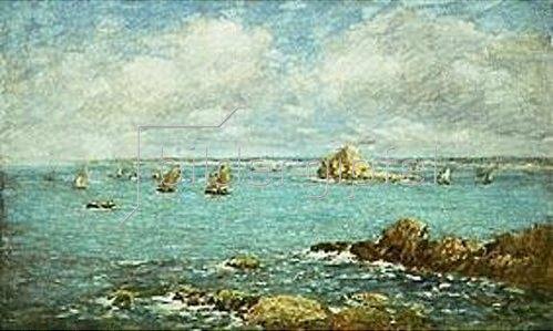 Eugène Boudin: Douarnenez, Meeresbucht mit Schiffen. 1897.