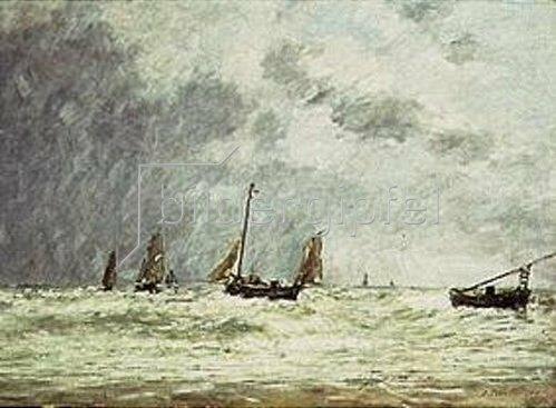 Eugène Boudin: Ausfahrt der Fischerboote (Berck). 1879.