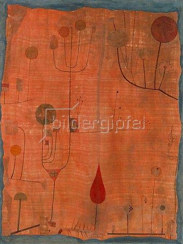 Paul Klee: Früchte auf rot (oder: Das Schweißtuch des Geigers). 1930.