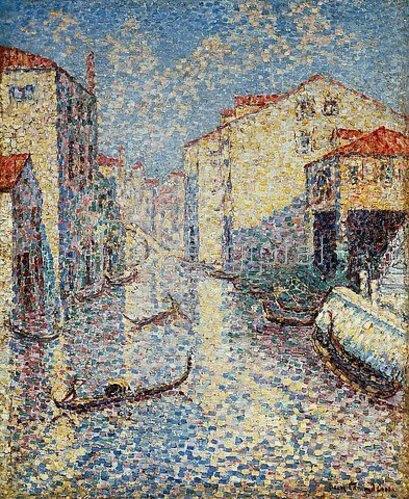 Henri Edmond Cross: Venedig, Kanal mit Gondeln.