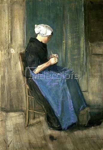 Vincent van Gogh: Strickende Frau aus Scheveningen.