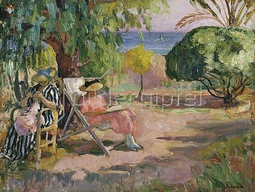 Henri Lebasque: Sommertag in einem Garten am Meer.
