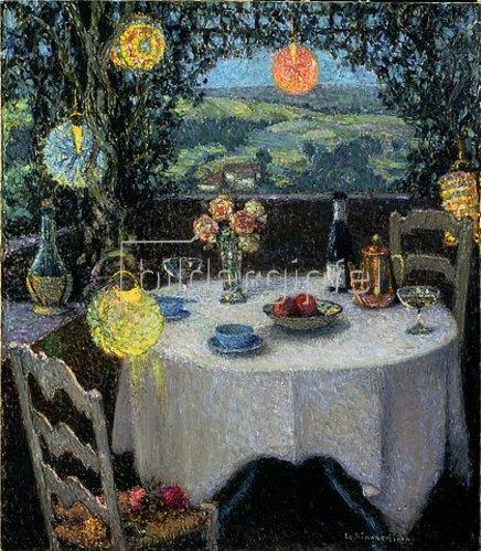 Henri Le Sidaner: Das Tischlein in der Gartenlaube. 1932