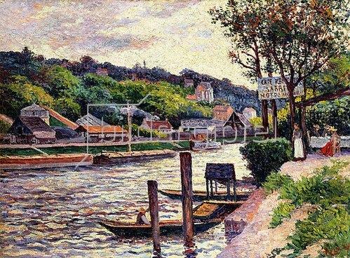 Maximilien Luce: Ausflugslokal an der Oise (Guinguette au Bord de l'Oise). 1897