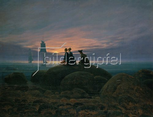 Caspar David Friedrich: Mondaufgang am Meer (Pendant zu Bildnummer 479). 1822