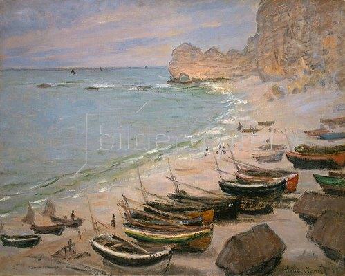 Claude Monet: Boote auf dem Strand von Etretat. 1883