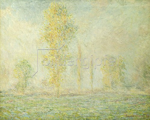 Claude Monet: Wiesenlandschaft mit Bäumen bei Giverny im Morgenlicht. 1888