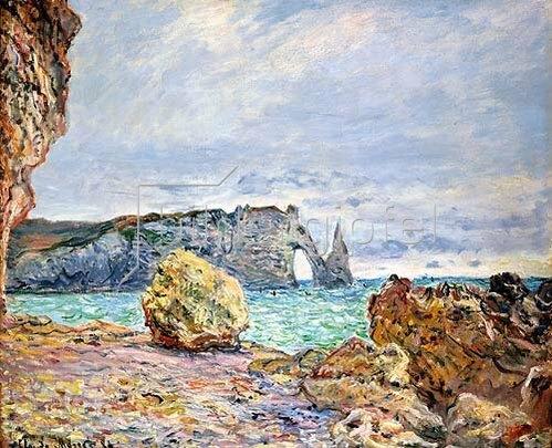 Claude Monet: Etretat, Strand und Falaise d'Aval. 1884.
