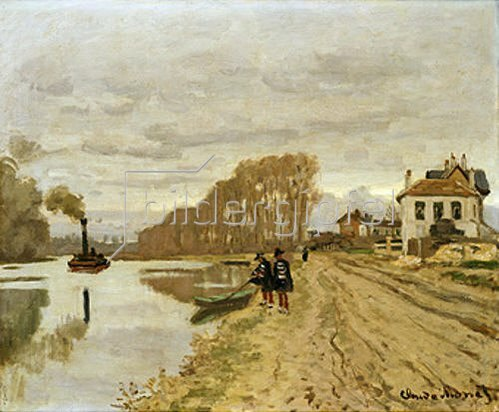 Claude Monet: Zwei Voltigeure beim Spaziergang an einem Fluss-Ufer.