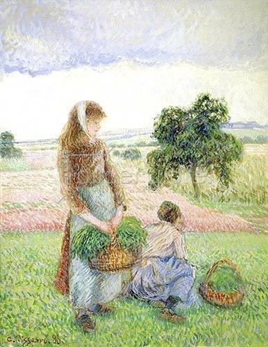 Camille Pissarro: Bäuerinnen mit Körben. 1888.