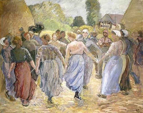 Camille Pissarro: Tanzende Bauersfrauen.