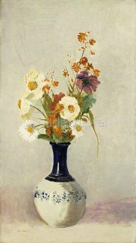 Odilon Redon: Blumen in schwarz-weisser Keramikvase.