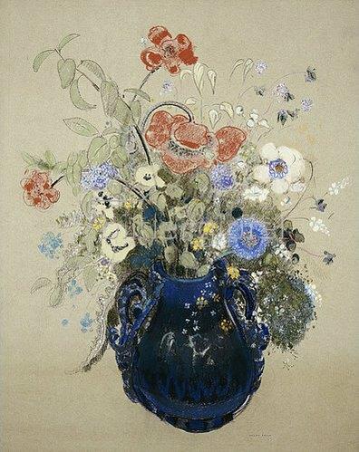 Odilon Redon: Blumenstrauss in blauem Krug. Um 1905-08