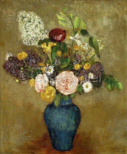 Odilon Redon: Frühlingsblumen in hoher blauer Vase.