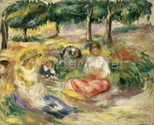 Auguste Renoir: Drei junge Frauen im Grünen.